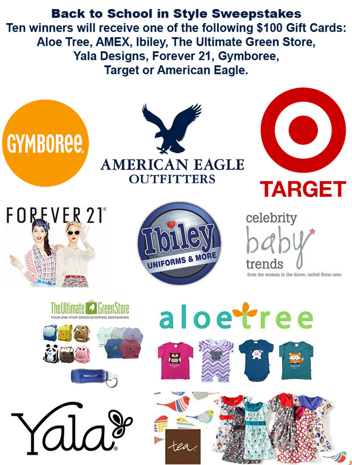 Enter to win our Back to School in Style Giveaway. Ten winners will receive one of the following $100 Gift Cards: Aloe Tree, AMEX, Ibiley, The Ultimate Green Store, Yala Designs, Forever 21, Gymboree, Target or American Eagle.