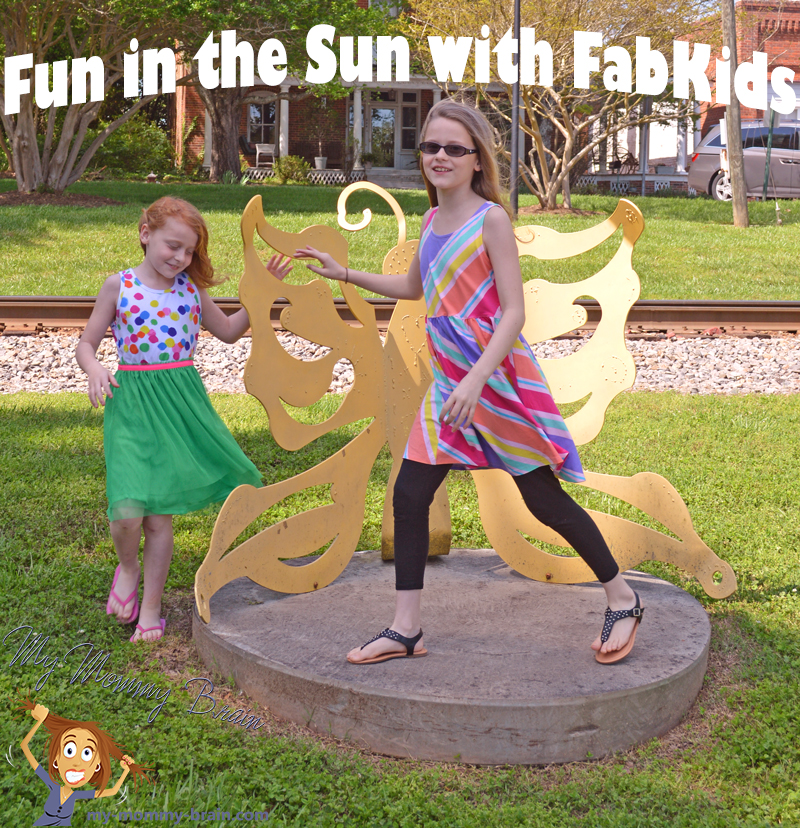 Fun in the Sun with FabKids Summertime Party Outfit, striped skater dress, black Fab Soft leggings, black leather studded sandals & Color Fun Tutu Dress