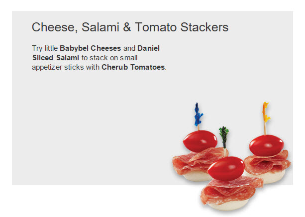 Cheese, Salami & tomato Stackers