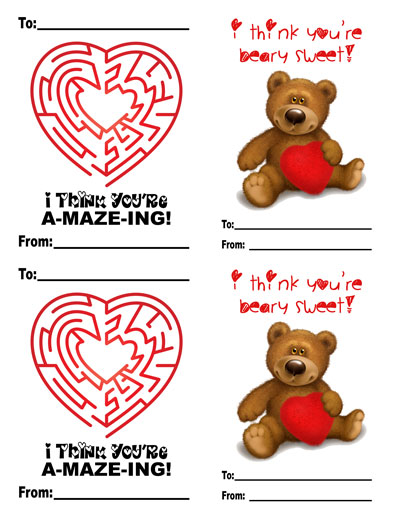 Fun and Fabulous Classroom Valentine Printables maze bear