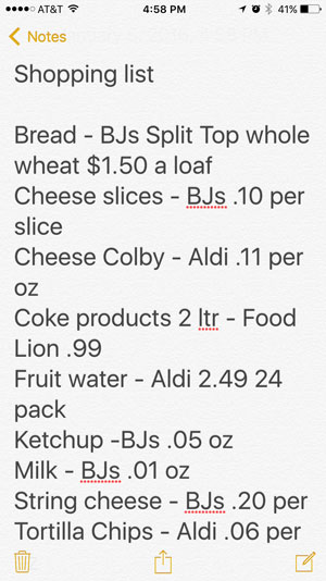 Grocery Shopping 101: Keep a price list handy