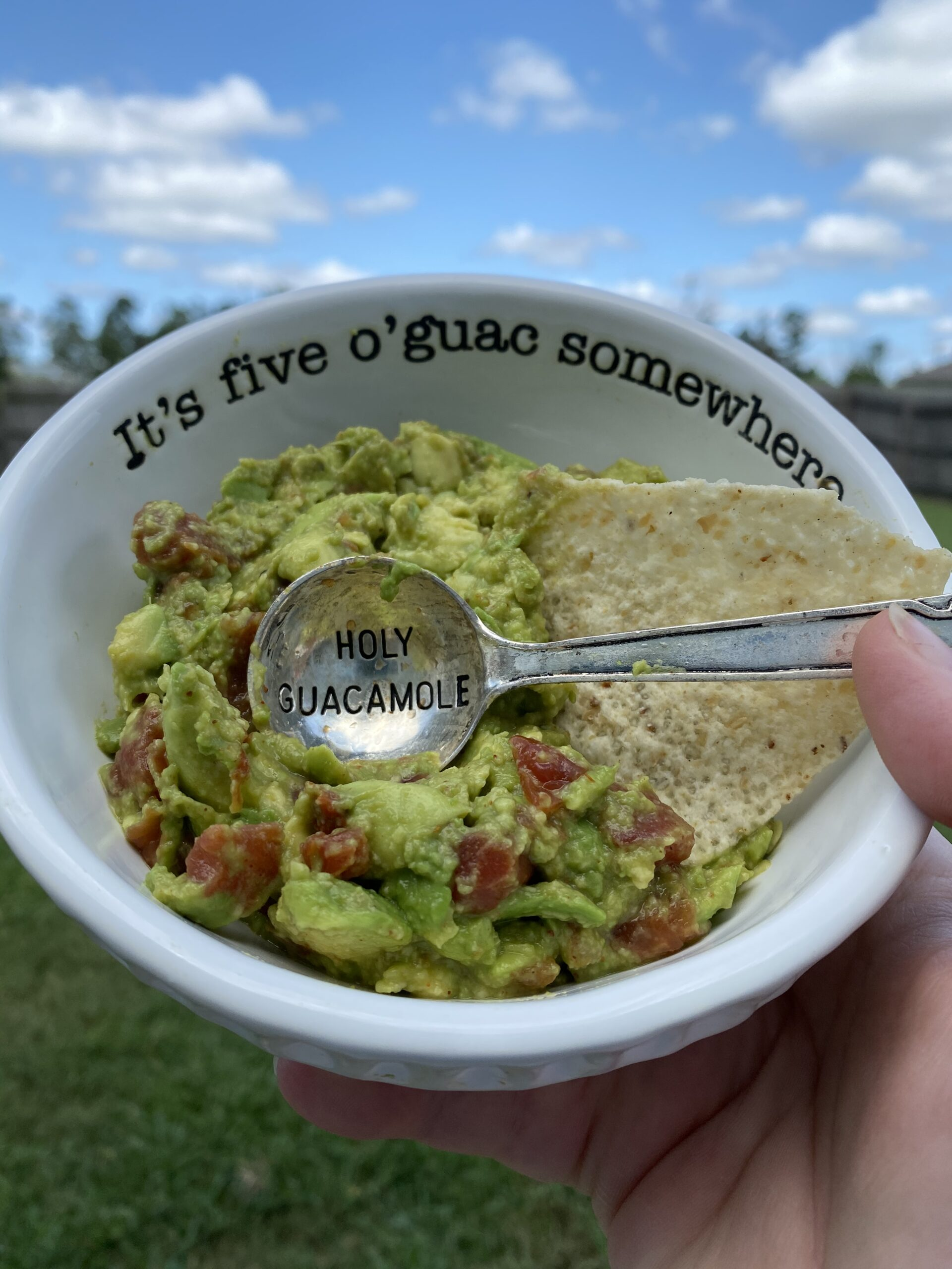 Guacamole in a bowl with spoon and chip