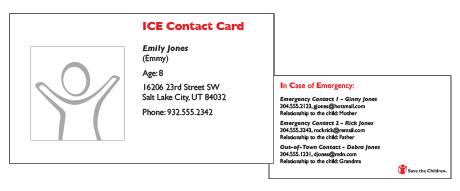 ICE sample card
