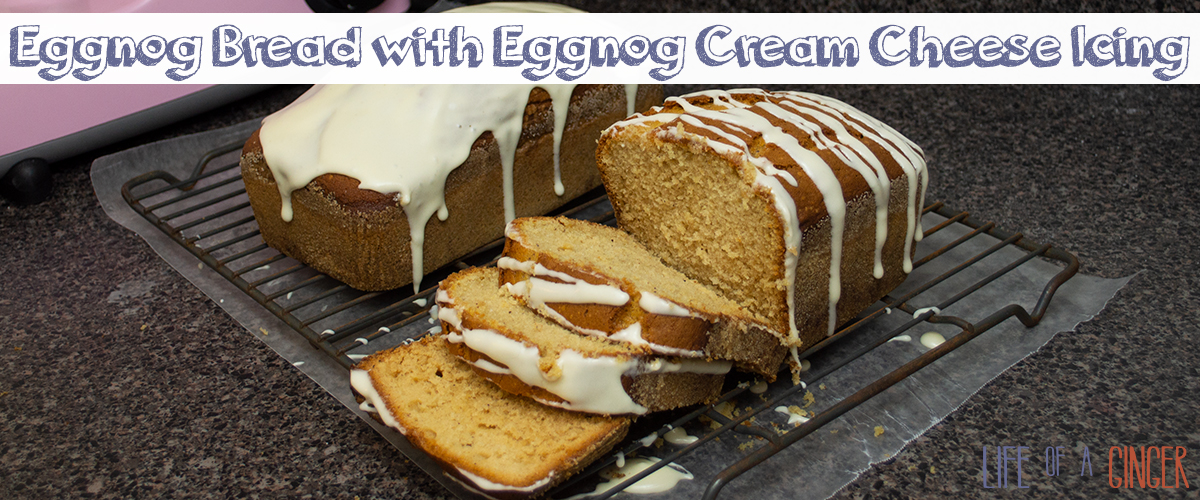 Eggnog Bread with Eggnog Cream Cheese Icing