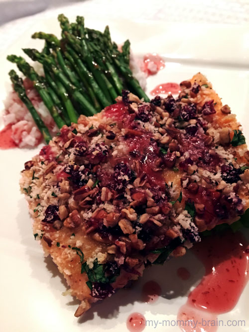 Serve on a plate topped with cran-apple drizzle andmore parsley (if desired).