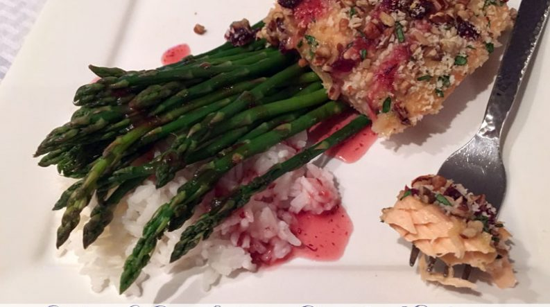 Pecan & Cranberry-Crusted Salmon with Cran-Apple Drizzle