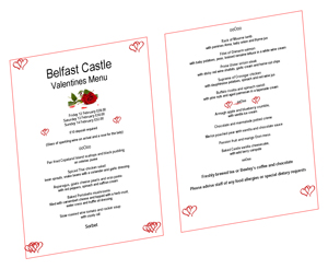 Belfast Castle Valentine's Day Menu