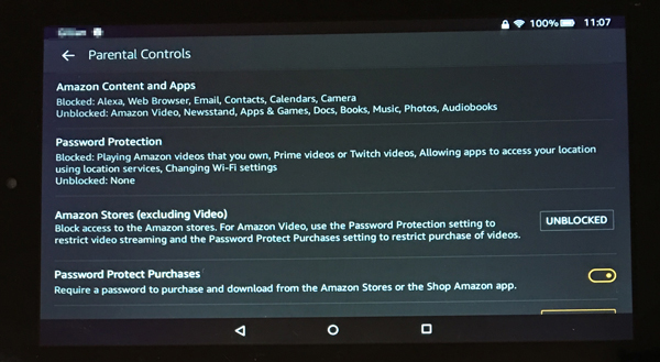Setting up parental controls on a Kindle Fire
