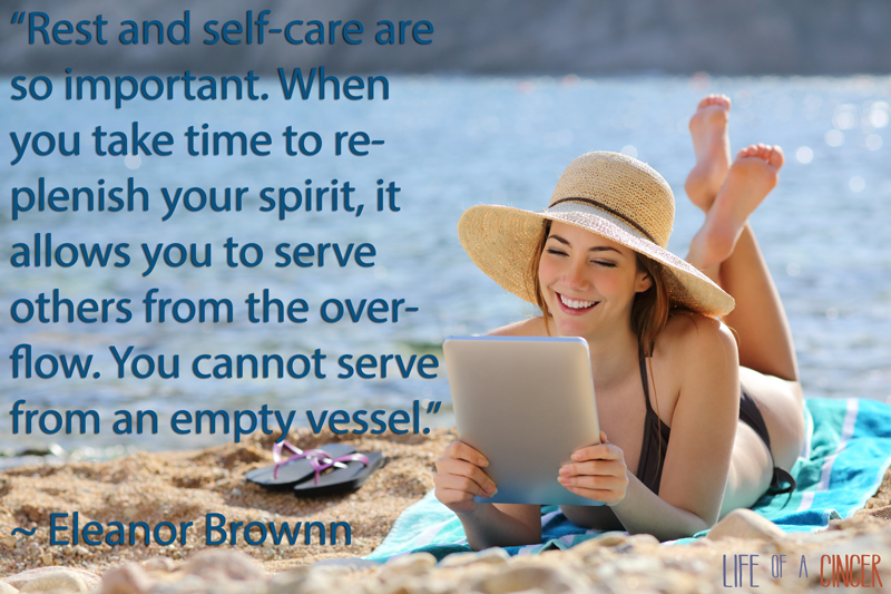 """Rest and self-care are so important. When you take time to replenish your spirit, it allows you to serve others from the overflow. You cannot serve from an empty vessel."" - Eleanor Brownn"