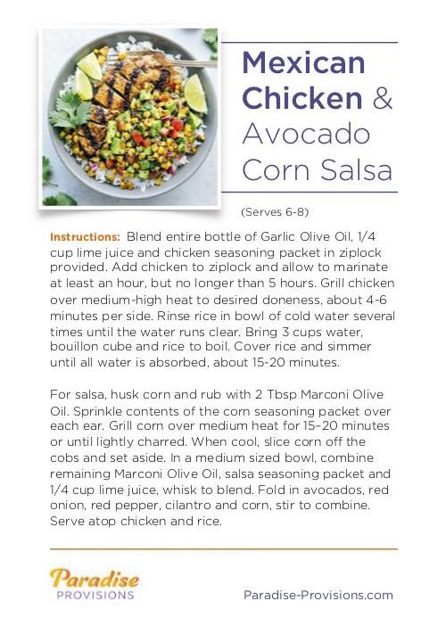 Full Recipe for Mexican Chicken and Avocado Corn Salsa