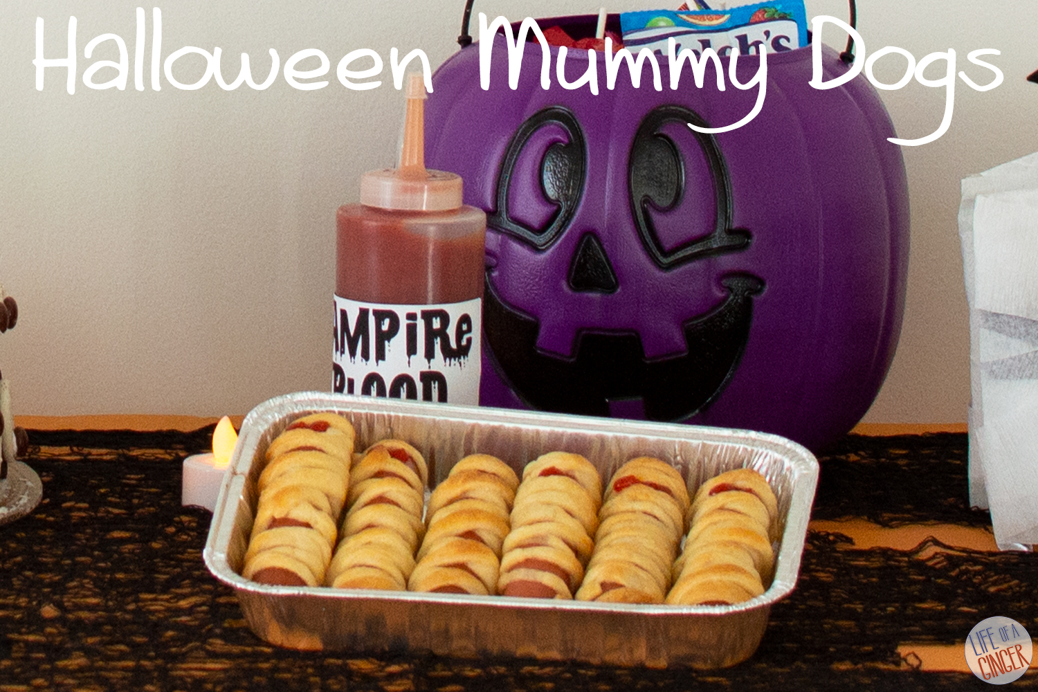 mummy dogs and purple pumpkin