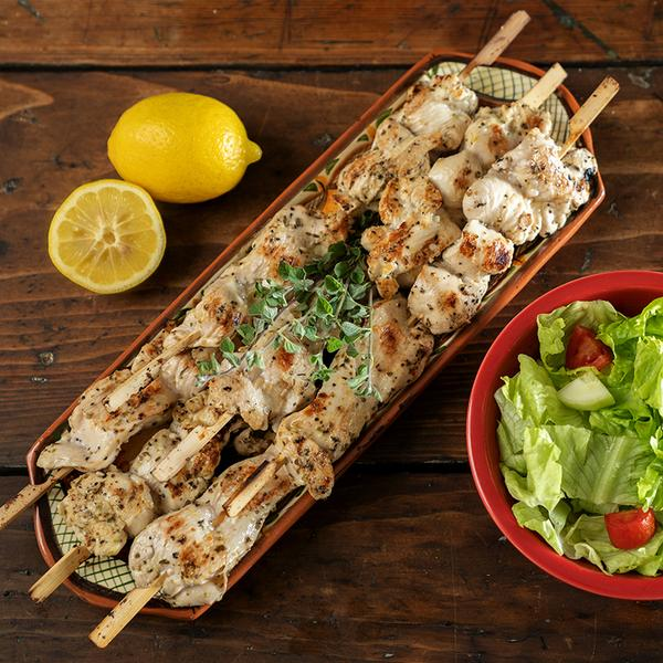 tuscan chicken skewers and leafy greens