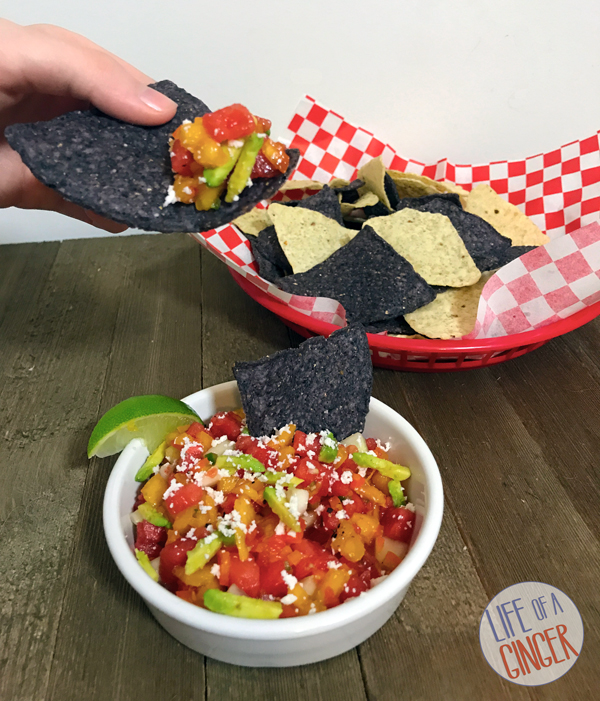 Watermelon Peach Salsa with Tortilla Chips