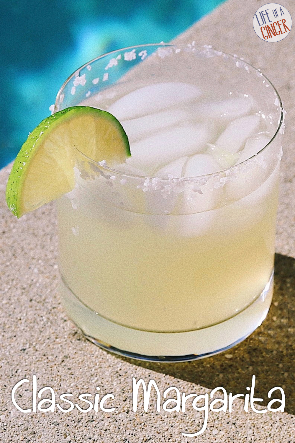 Margarita on the Rocks next to a pool