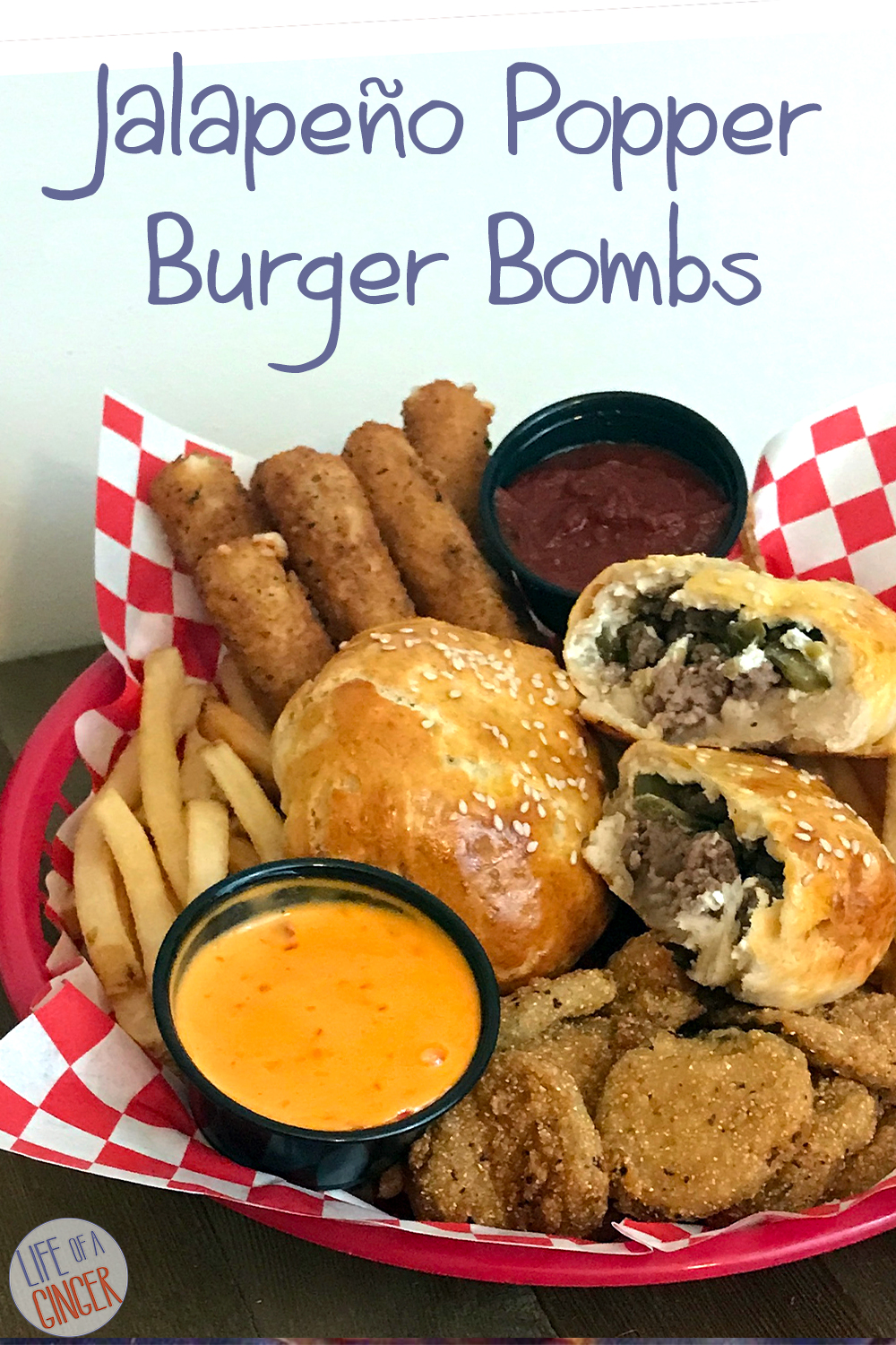 basket with fried food and burger bombs