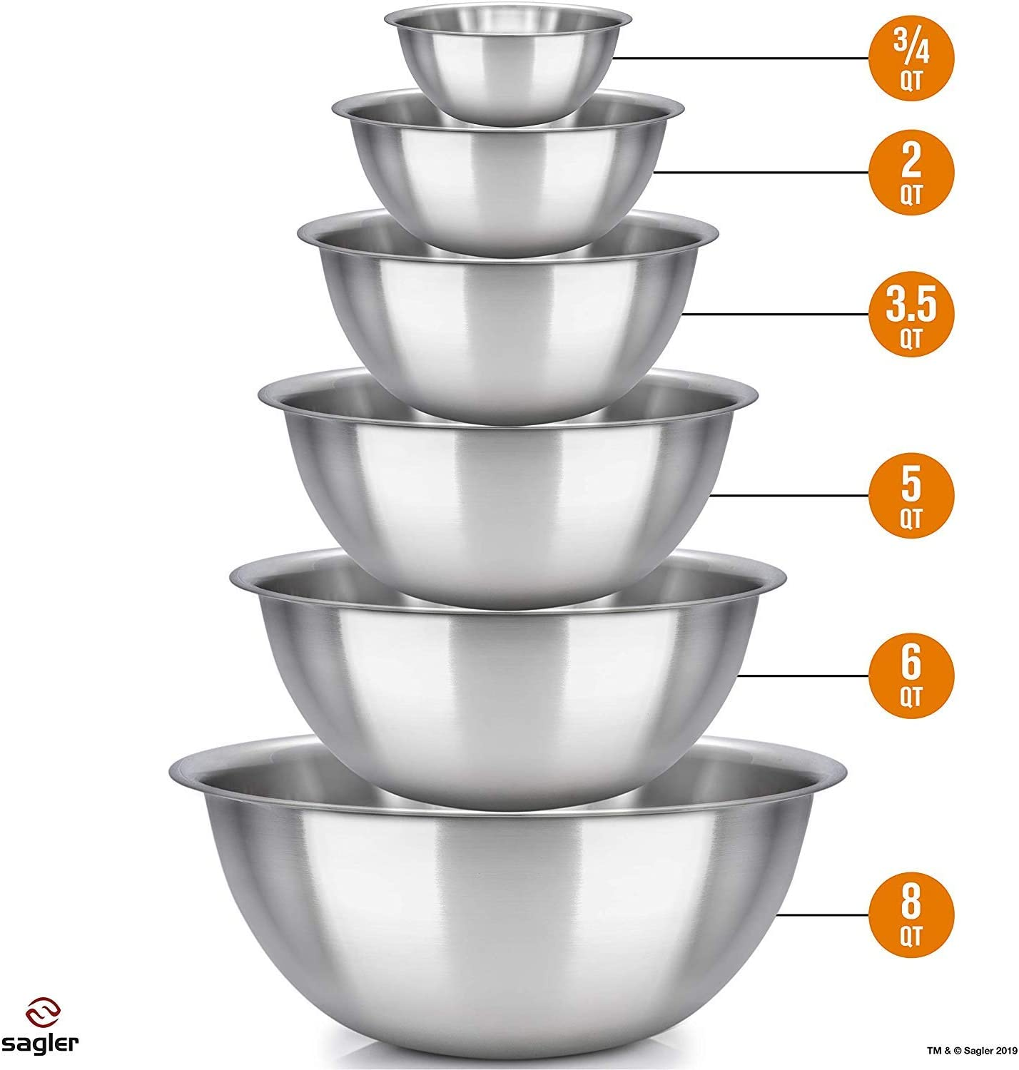 Set of 6 - stainless steel mixing bowls - Polished Mirror kitchen bowls - Set Includes ¾, 2, 3.5, 5, 6, 8 Quart