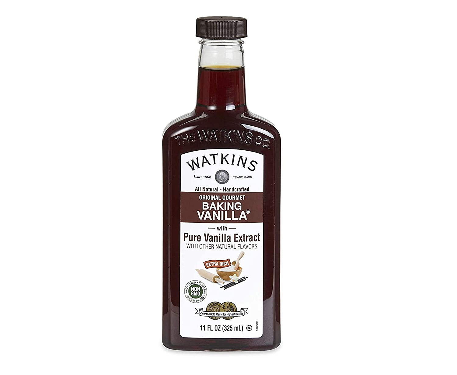 Watkins All Natural Original Gourmet Baking Vanilla, with Pure Vanilla Extract, 11 ounces Bottle,